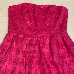 Lilly Pulitzer Dresses - Lily Pulitzer hot pink floral strapless dress 8